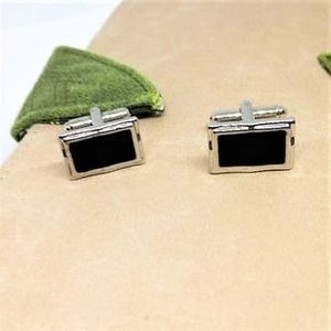 Other - Rectangular Stainless Steel Black Onyx Cuff Links